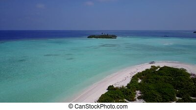 v05453 Aerial flying drone view of Maldives white sandy...