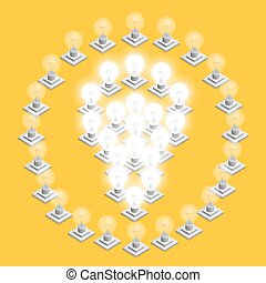 Lamp plugged in. - Lamp plugged in isometric art. Vector...