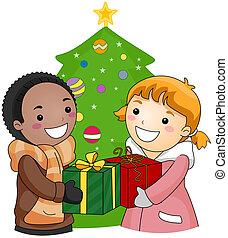 Exchange Gifts - Illustration of a Boy and Girl Exchanging...