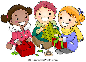 Kids Wrapping Gifts - Illustration of Kids Wrapping Gifts