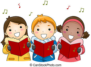 Christmas Carols - Illustration of Kids Singing Christmas...