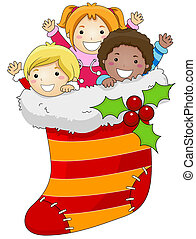 Christmas Stocking - Illustration of Kids Huddled Together...