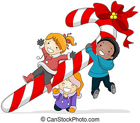 Kids Playing with a Candy Cane - Illustration of Kids...