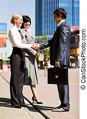 Success - Photo of successful business partners handshaking...