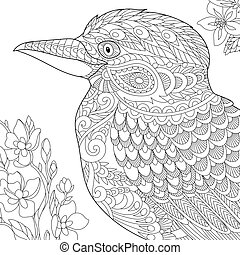 Zentangle stylized kookaburra bird - Coloring page of...