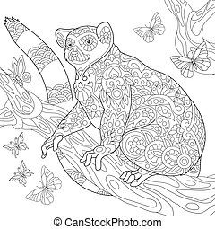 Zentangle stylized lemur and butterflies - Coloring page of...