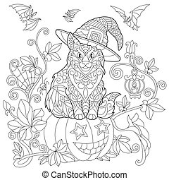 Zentangle stylized halloween cat - Coloring page of cat in a...