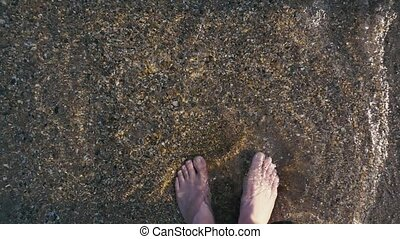 Men's feet step on the shallows slow mo - Men's legs in...