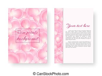 Leaflet with soaring rose petals - Postcard with rose petals...