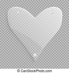 Transparent heart with a conical gradient - A large glossy...