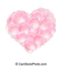Heart of pink rose petals - Pink rose petals in the shape of...