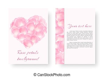 Card with a heart of pink petals - Template greeting card...
