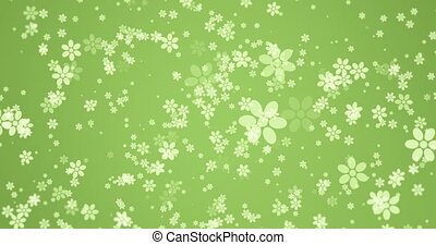 animation - modern rotation falling flowers on green...