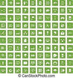 100 network icons set grunge green - 100 network icons set...