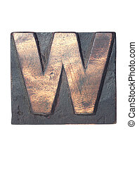 wooden W typeface - detailed vintage wooden W letter...