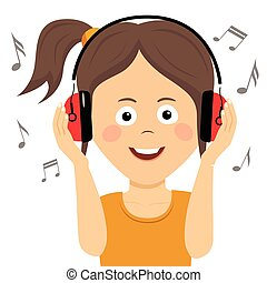 Cute teenager girl listening to music with headphones - Cute...