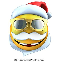 3d yellow emoticon smile with christmas hat - 3d...