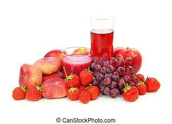 Fresh red fruits and juice