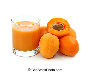 Fresh apricots and juice