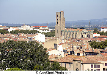 Carcassonne city center seen from the top of the ramparts of...