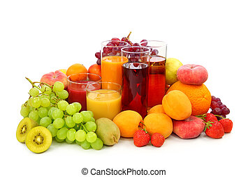 Fresh fruits and juice isolated on white background