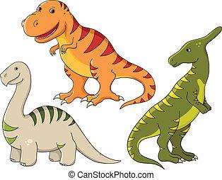 Vector set - dinosaurs - Vector set - funny dinosaurs...