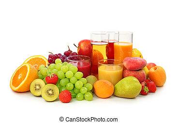 fresco, frutas, suco