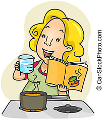 Measuring Ingredients - Illustration of a Woman Measuring...