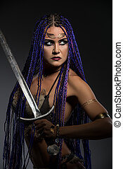 Horsewoman with African braids and sword portrait - Sexy...
