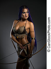 Sexy horsewoman with bow and arrows portrait - Sexy resolute...