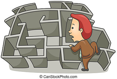 Businessman Maze - Illustration of a Businessman going over...