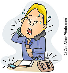 Businessman Answering Calls - Illustration of a Businessman...