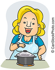Cook Timer - Illustration of a Woman Waiting in Front of the...