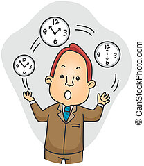 Businessman Juggling Time - Illustration of a Businessman...