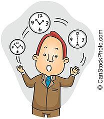 Businessman Juggling Time - Illustration of a Businessman...