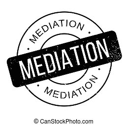 Mediation rubber stamp. Grunge design with dust scratches....