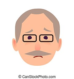 Sad Old Man in Glasses Face Flat Vector Icon - Sad old man...
