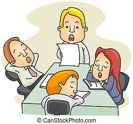 Bored Meeting - Illustration of a Employees Dozing Off While...