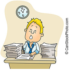 Overtime - Illustration of a Businessman Spending Extra Time...