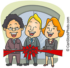 Ribbon Cutting Ceremony - Illustration of Businessmen in a...