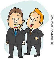Spoon Feeding - Illustration of a Businessman Spoon Feeding...