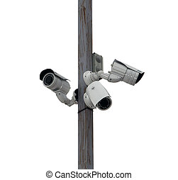 outside security cameras cover multiple angles - three...