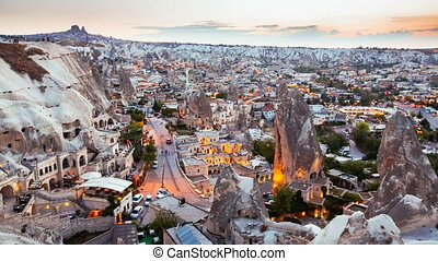 Timelapse view of Goreme village in Cappadocia at sunset in Turkey