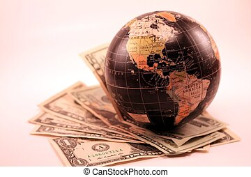 World Market Global Economy Trade - A world globe with...