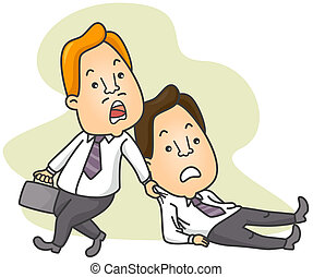 Man Dragging Colleague to Work - Illustration of a Man...