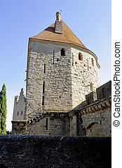 Fortified city of Carcassonne and its ramparts dating from...