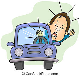 Road Rage - Illustration of an Angry Driver Shouting While...