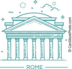 Vector line illustration of Pantheon, Rome, Italy -...