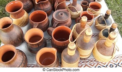 Clay pots, russian pots - Clay pots on the table