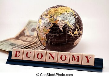 Global Economy World Business Trade - A world globe with...